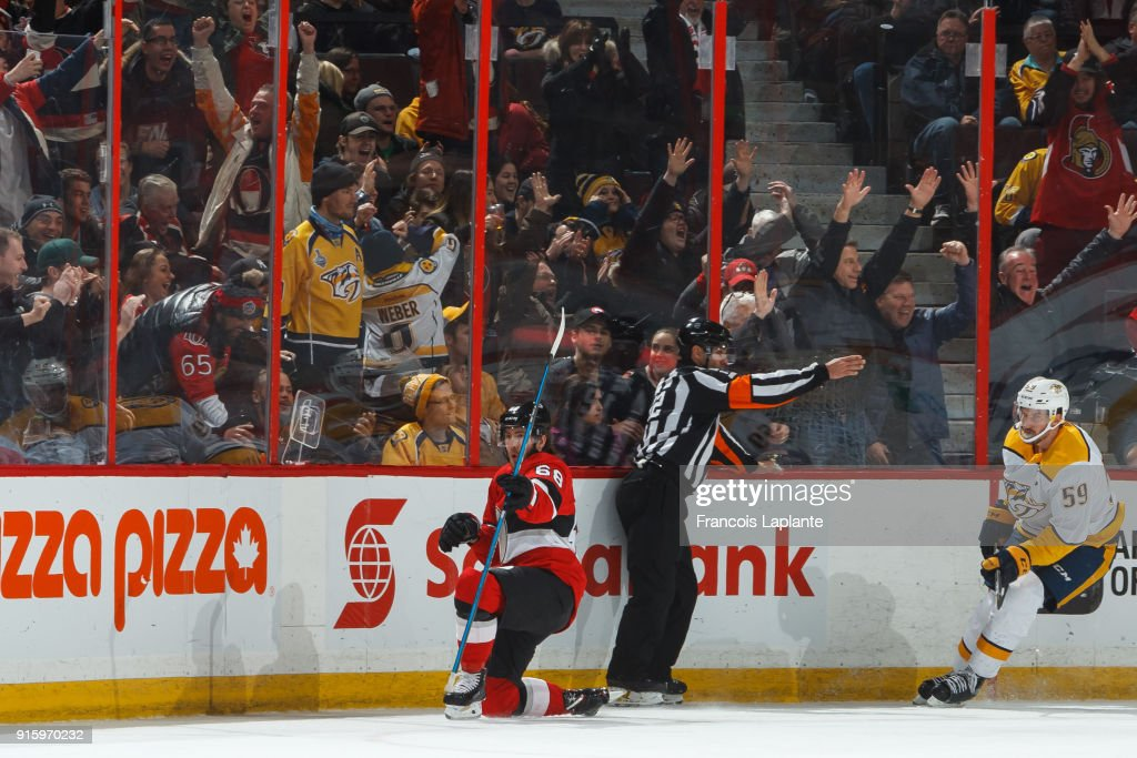 Mike Hoffman #68 of the Ottawa Senators celebrates his 100th NHL career goal and overtime winning against the Nashville Predators at Canadian Tire Centre on February 9, 2018 in Ottawa, Ontario, Canada.