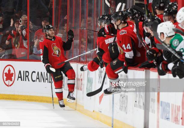 Mike Hoffman of the Ottawa Senators celebrates his gamewinning overtime goal against the Dallas Stars at Canadian Tire Centre on March 16 2018 in...