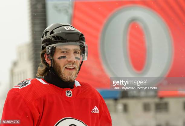 Mike Hoffman of the Ottawa Senators look on during a practice at Lansdowne Park on December 15 2017 in Ottawa Canada