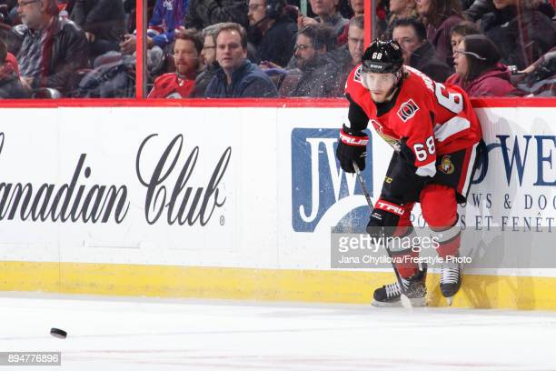 Mike Hoffman of the Ottawa Senators passes the puck against the New York Rangers at Canadian Tire Centre on December 4 2017 in Ottawa Ontario Canada