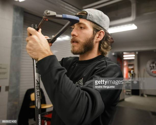 Mike Hoffman of the Ottawa Senators preparers his stick prior to the 2017 Scotiabank NHL100 Classic at Lansdowne Park on December 16 2017 in Ottawa...