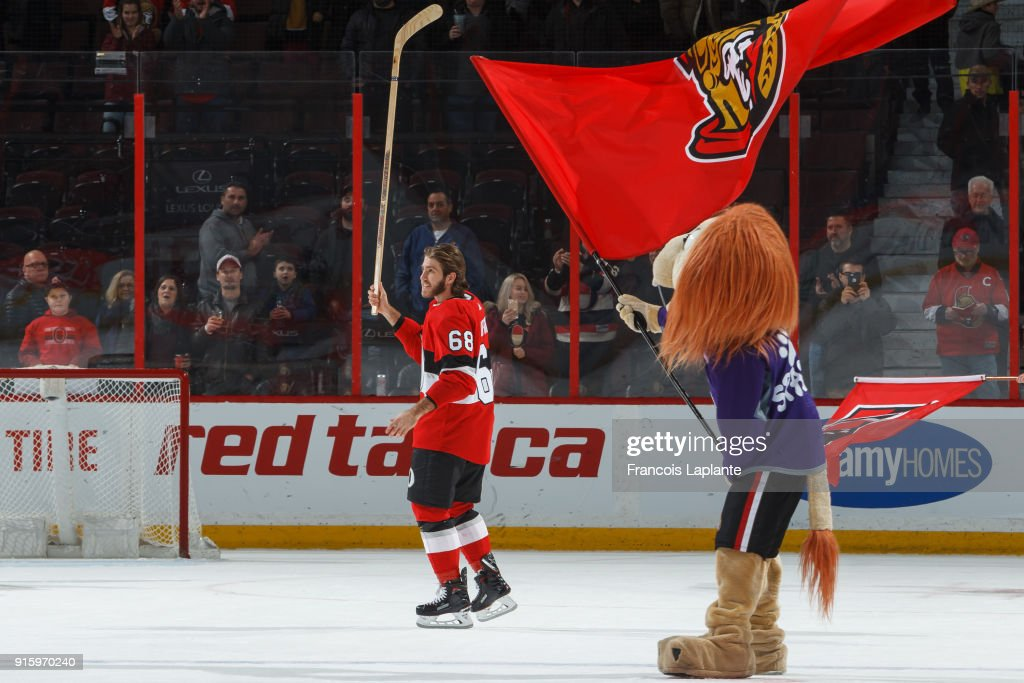 Mike Hoffman #68 of the Ottawa Senators salutes the fans as he is named the first star of the game after a win against the Nashville Predators at Canadian Tire Centre on February 9, 2018 in Ottawa, Ontario, Canada.