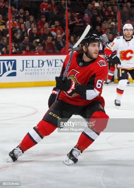 Mike Hoffman of the Ottawa Senators skates against the Calgary Flames at Canadian Tire Centre on March 9 2018 in Ottawa Ontario Canada