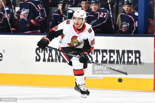Mike Hoffman of the Ottawa Senators skates against the Columbus Blue Jackets on March 17 2018 at Nationwide Arena in Columbus Ohio Mike Hoffman