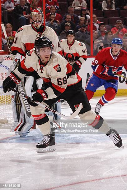 Mike Hoffman of the Ottawa Senators skates against the Montreal Canadiens during an NHL game at Canadian Tire Centre on April 4 2014 in Ottawa...