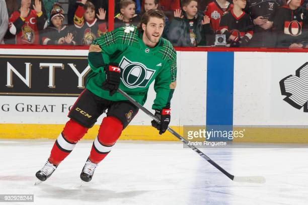 Mike Hoffman of the Ottawa Senators warms up in a green jersey for St Patrick's Day prior to a game against the Dallas Stars at Canadian Tire Centre...