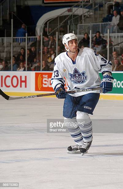 Mike Hoffman of the Toronto Marlies skates against the Peoria Rivermen at Ricoh Coliseum on February 3 2006 in Toronto Ontario Canada The Rivermen...