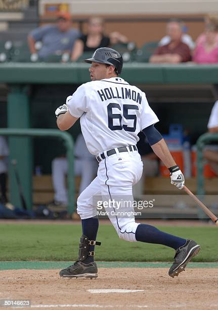 Mike Hollimon of the Detroit Tigers bats during the spring training game against Florida Southern College at Joker Marchant Stadium in Lakeland...