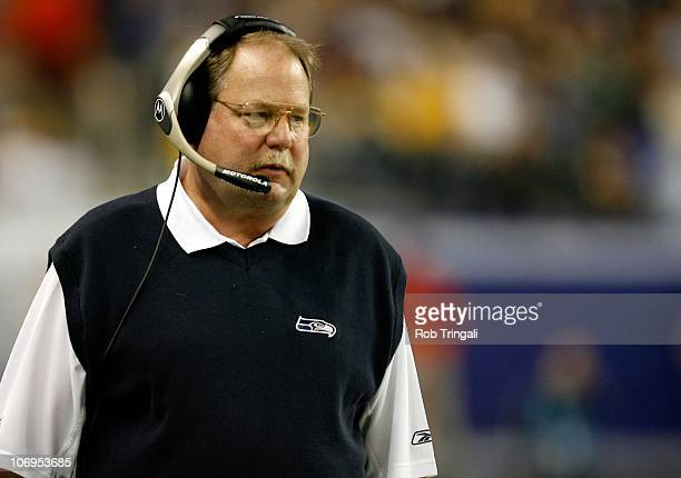 Mike Holmgren head coach of the Seattle Seahawks during Super Bowl XL played between the Pittsburgh Steelers and The Seattle Seahawks at Ford Field...