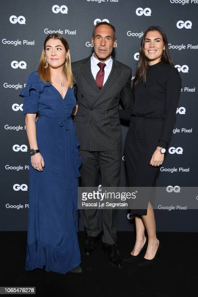 Mike Horn GQ Explorer of the decade with his daughter Jessica and Annika attend GQ Men Of The Year Awards 2018 at Centre Pompidou on November 19 2018...