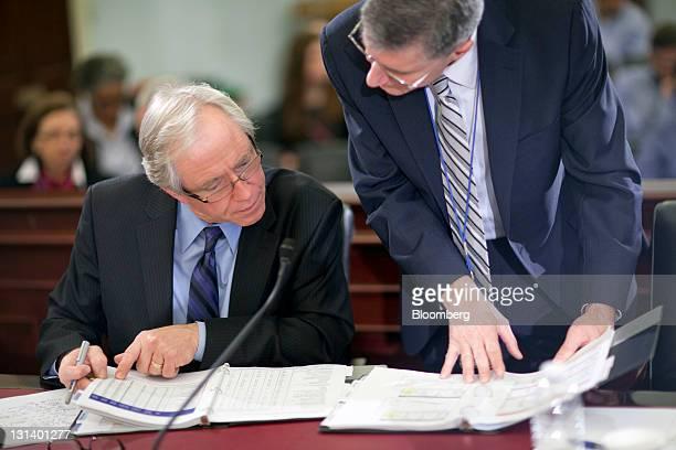 "Mike Horrigan, associate commissioner of the U.S. Bureau of Labor Statistics, left, and John ""Jack"" Galvin, acting deputy commissioner of the Bureau..."