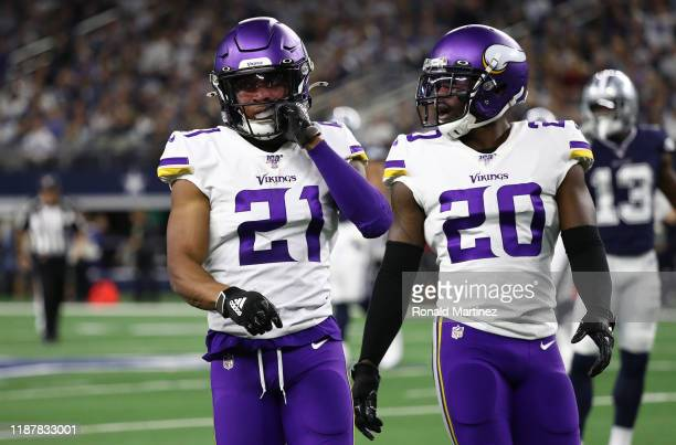 Mike Hughes and Mackensie Alexander of the Minnesota Vikings at ATT Stadium on November 10 2019 in Arlington Texas