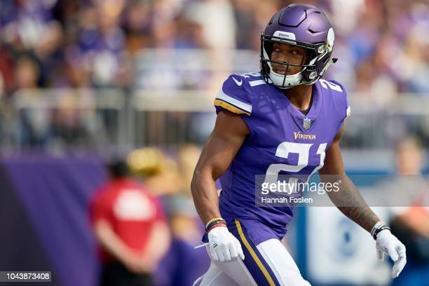Mike Hughes of the Minnesota Vikings looks on during the game against the Buffalo Bills at US Bank Stadium on September 23 2018 in Minneapolis...