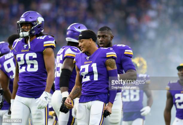 Mike Hughes of the Minnesota Vikings takes the field during player introductions before the game against the Detroit Lions at US Bank Stadium on...