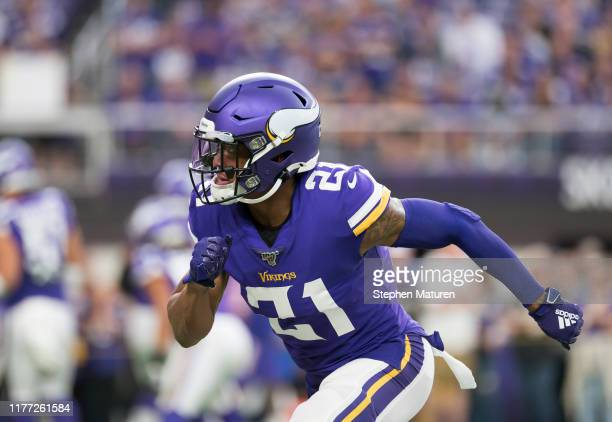 Mike Hughes of the Minnesota Vikings warms up before the game against the Oakland Raiders at US Bank Stadium on September 22 2019 in Minneapolis...