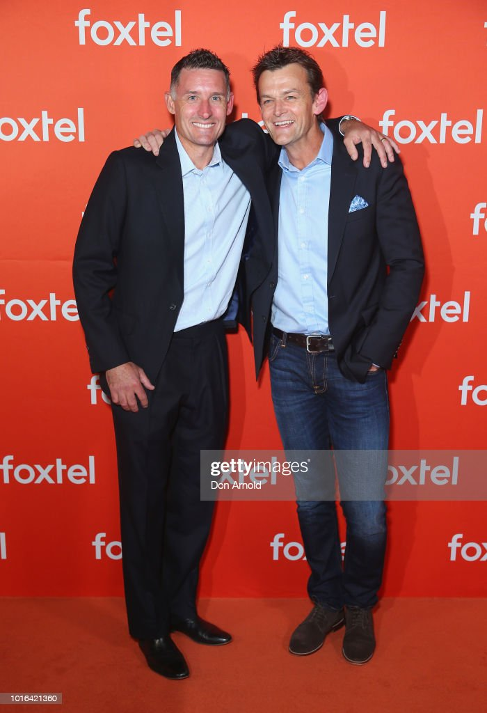 Mike Hussey and Adam Gilchrist arrive ahead of the Foxtel Launch Event at Fox Studios on August 14, 2018 in Sydney, Australia.