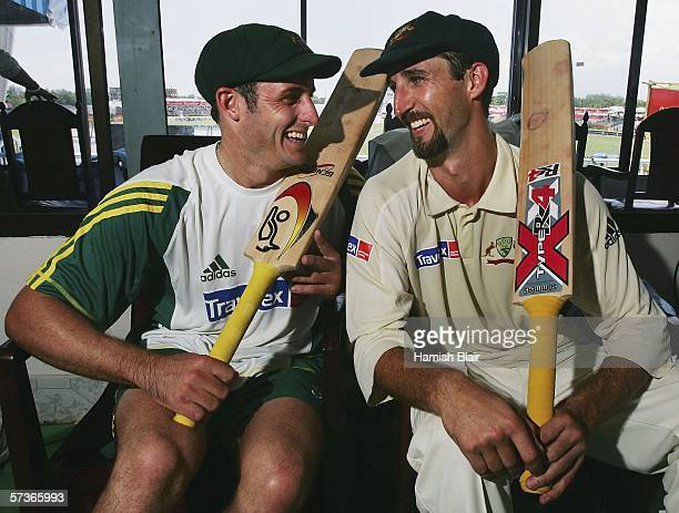 Mike Hussey and Jason Gillespie of Australia reflect on their 320 run partnership during day four of the Second Test between Bangladesh and Australia...