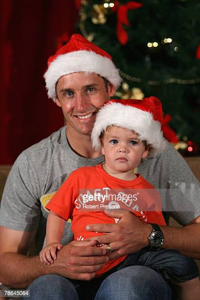 Mike Hussey and son Will pose during the Australian cricket team Christmas lunch at Crown Casino on December 25 2007 in Melbourne Australia