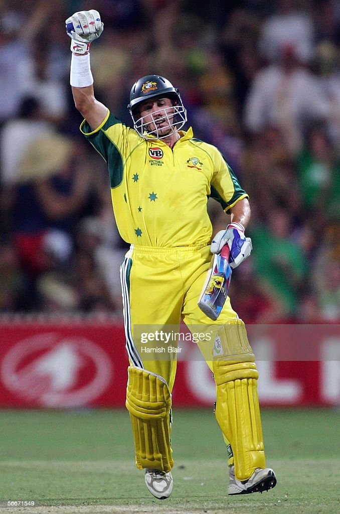 Mike Hussey of Australia celebrates the winning run during Game 7 of the VB Series between Australia and Sri Lanka played at the Adelaide Oval on January 26, 2006 in Adelaide, Australia.