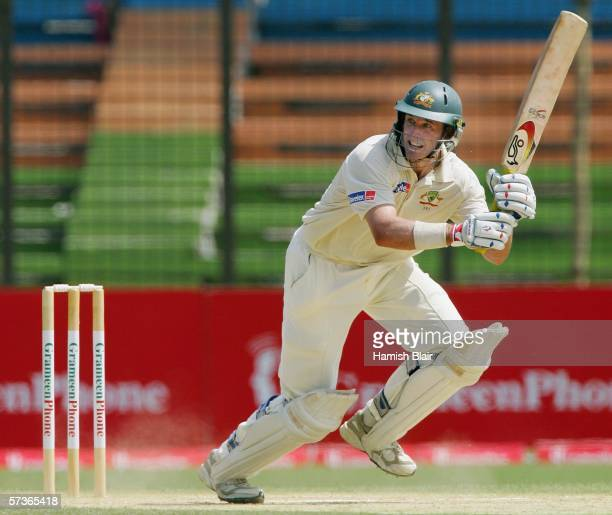 Mike Hussey of Australia in action during day four of the Second Test between Bangladesh and Australia played at the Chittagong Divisional Stadium on...