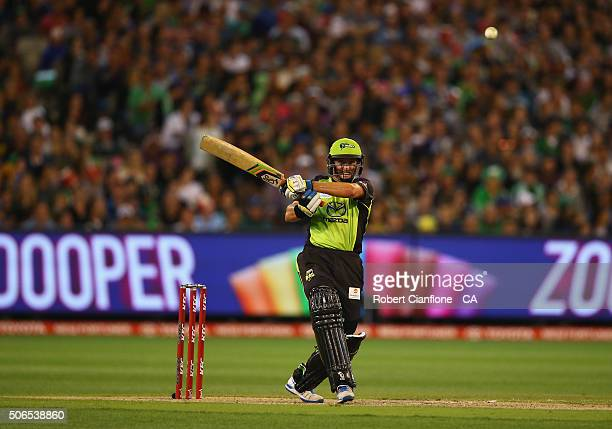 Mike Hussey of the Thunder bats during the Big Bash League final match between Melbourne Stars and the Sydney Thunder at Melbourne Cricket Ground on...