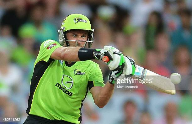Mike Hussey of the Thunder bats during the Big Bash League match between the Sydney Thunder and Brisbane Heat at ANZ Stadium on December 21 2014 in...
