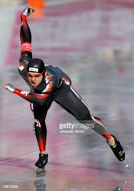 Mike Ireland of Canada competes in the 500m heats during Day 2 of the Essent ISU Speed Skating World Cup at the Ludwig Schwabl Eisstadion on February...