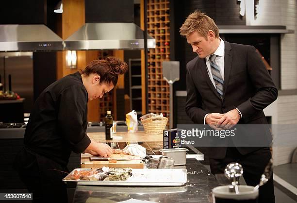 """Mike Isabella vs Antonia Lofaso"""" Episode 103 -- Pictured: Antonia Lofaso, Curtis Stone --"""