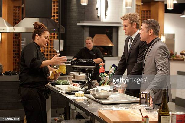 "Mike Isabella vs Antonia Lofaso"" Episode 103 -- Pictured: Antonia Lofaso, Curtis Stone, Michael Chiarello --"
