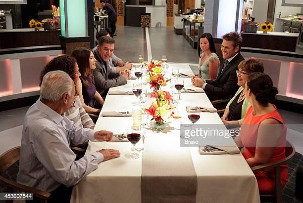 "Mike Isabella vs Antonia Lofaso"" Episode 103 -- Pictured: Fred Lofaso, Xea Lofaso, Gail Simmons, Dominick Lofaso, Stacey Isabella, Curtis Stone,..."