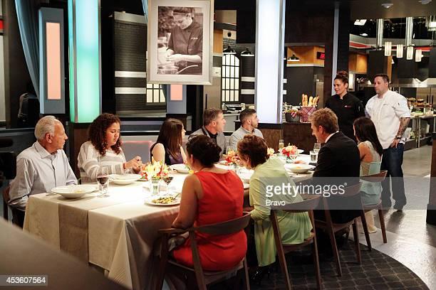 "Mike Isabella vs Antonia Lofaso"" Episode 103 -- Pictured: Fred Lofaso, Xea Lofaso, Gail Simmons, Diana Isabella, Michael Chiarello, Joanne Isabella,..."