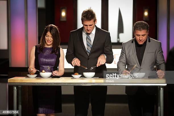 "Mike Isabella vs Antonia Lofaso"" Episode 103 -- Pictured: Gail Simmons, Curtis Stone, Michael Chiarello --"