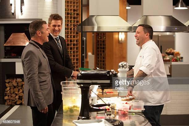 """Mike Isabella vs Antonia Lofaso"""" Episode 103 -- Pictured: Michael Chiarello, Curtis Stone, Mike Isabella --"""