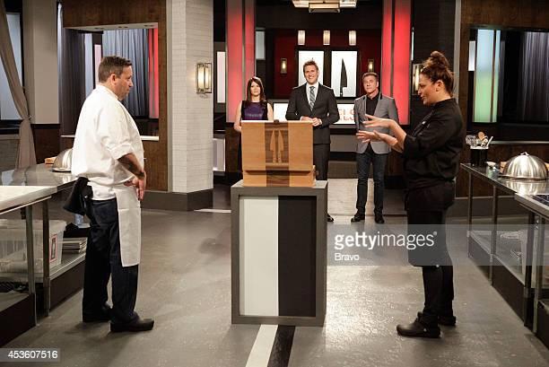 "Mike Isabella vs Antonia Lofaso"" Episode 103 -- Pictured: Mike Isabella, Gail Simmons, Curtis Stone, Michael Chiarello, Antonia Lofaso --"