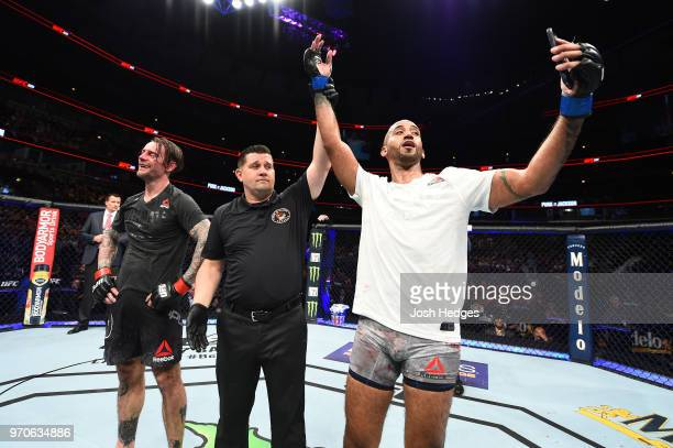 Mike Jackson celebrates after defeating CM Punk in their welterweight fight during the UFC 225 event at the United Center on June 9 2018 in Chicago...