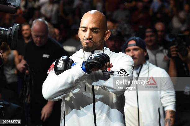 Mike Jackson walks towards the Octagon prior to facing CM Punk in their welterweight fight during the UFC 225 event at the United Center on June 9...