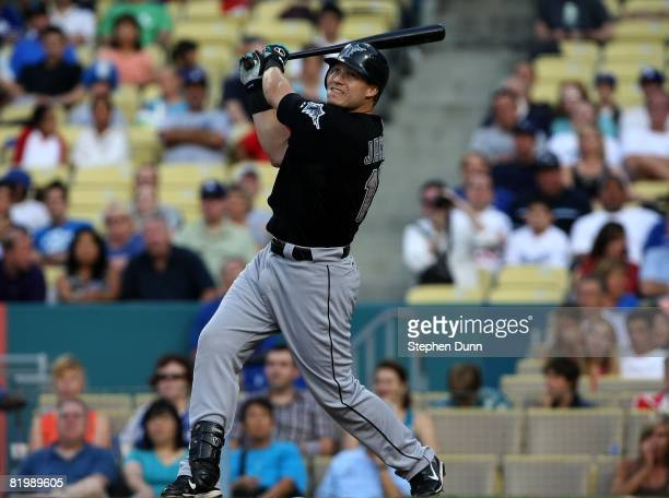 Mike Jacobs of the Florida Marlins bats against the Los Angeles Dodgers on July 12 2008 at Dodger Stadiium in Los Angeles California The Marlins won...