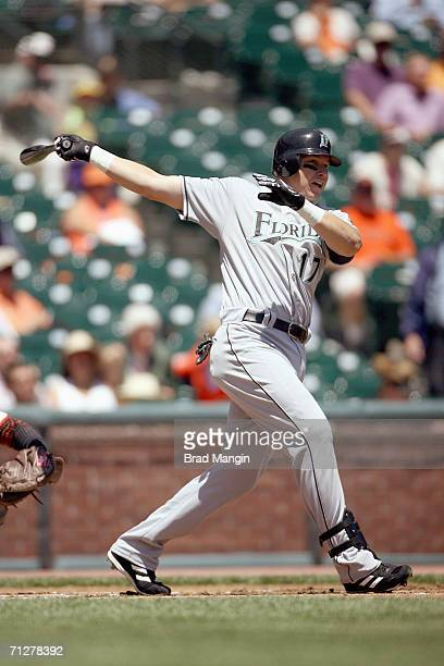 Mike Jacobs of the Florida Marlins bats during the game against the San Francisco Giants at ATT Park in San Francisco California on June 7 2006 The...