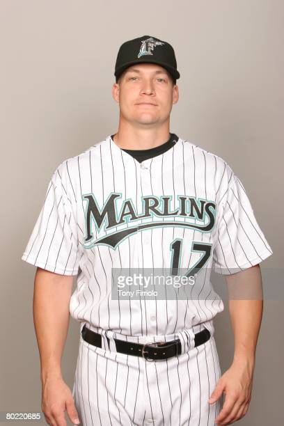 Mike Jacobs of the Florida Marlins poses for a portrait during photo day at Roger Dean Stadium on February 22 2008 in Jupiter Florida