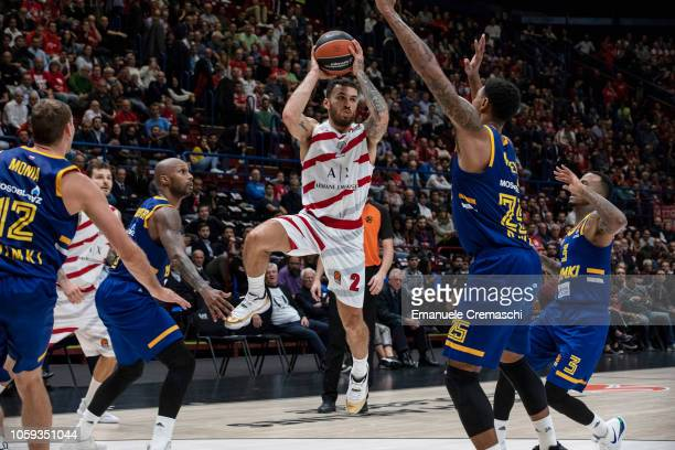 Mike James #2 of AX Armani Exchange Olimpia Milano shoots the ball during the Turkish Airlines EuroLeague Regular Season Round 4 match between AX...