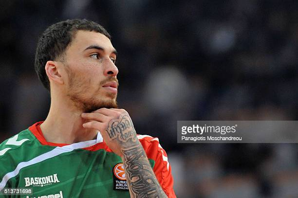 Mike James #3 of Laboral Kutxa Vitoria Gasteiz react during the warm up of the 20152016 Turkish Airlines Euroleague Basketball Top 16 Round 9 game...
