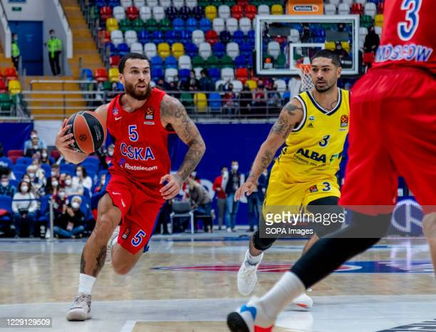 Mike James #5 of CSKA Moscow in action against Alba Berlin during the Turkish Airlines EuroLeague Round 4 of 20202021 season at the Megasport Arena...
