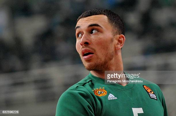 Mike James #5 of Panathinaikos Superfoods Athen react during the 2016/2017 Turkish Airlines EuroLeague Regular Season Round 19 game between...