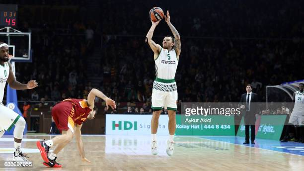 Mike James #5 of Panathinaikos Superfoods Athens in action during the 2016/2017 Turkish Airlines EuroLeague Regular Season Round 21 game between...