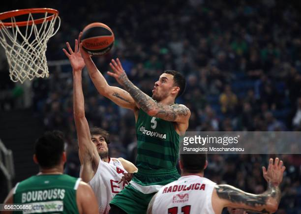 Mike James #5 of Panathinaikos Superfoods Athens in action during the 2016/2017 Turkish Airlines EuroLeague Regular Season Round 27 game between...