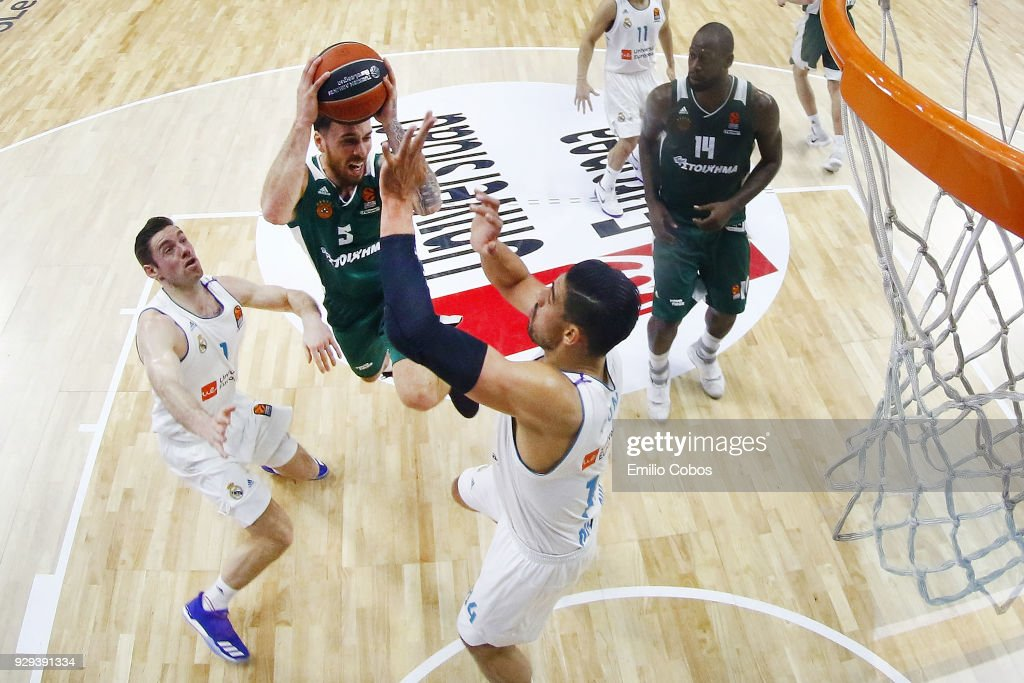 Mike James, #5 of Panathinaikos Superfoods Athens in action during the 2017/2018 Turkish Airlines EuroLeague Regular Season Round 25 game between Real Madrid and Panathinaikos Superfoods Athens at Wizink Arena on March 8, 2018 in Madrid, Spain.