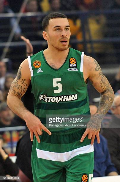 Mike James #5 of Panathinaikos Superfoods Athens react during the 2016/2017 Turkish Airlines EuroLeague Regular Season Round 16 game between...
