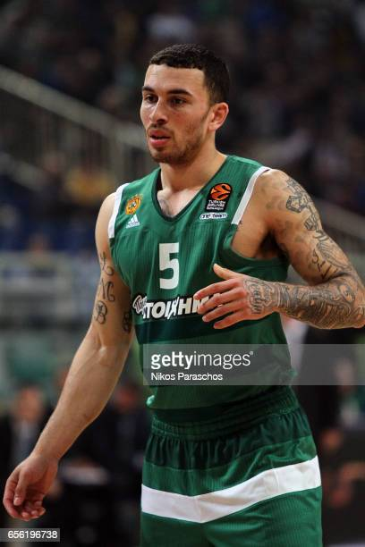 Mike James #5 of Panathinaikos Superfoods Athens react during the 2016/2017 Turkish Airlines EuroLeague Regular Season Round 27 game between...