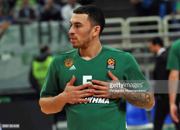 Mike James #5 of Panathinaikos Superfoods Athens warm up during the 2016/2017 Turkish Airlines EuroLeague Regular Season Round 27 game between...