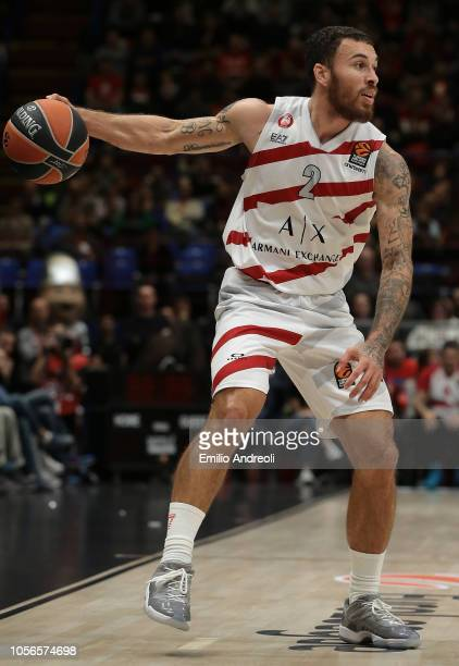 Mike James of AX Armani Exchange Olimpia Milan dribbles during the Turkish Airlines EuroLeague Regular Season Round 5 match between AX Armani...